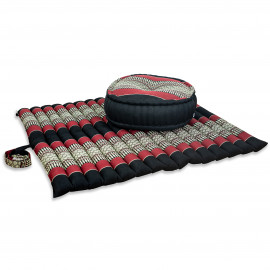 Kapok, Zafukissen mit extragroßem Steppkissen XL, schwarz-rot
