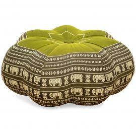 Zafukissen, Sitzkissen, großer Stern, grün / Elefanten