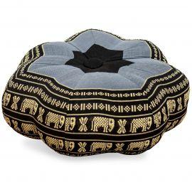 Zafukissen, Sitzkissen, kleiner Stern, blau / Elefanten