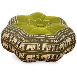 Zafukissen, Sitzkissen, kleiner Stern, grün / Elefanten