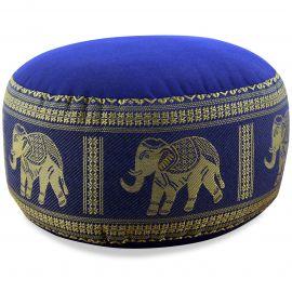 kleines Zafukissen, Yogakissen, Seide, blau / Elefanten