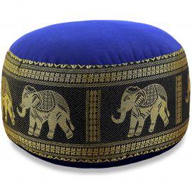 kleines Zafukissen, Yogakissen, Seide, blau-schwarz / Elefanten