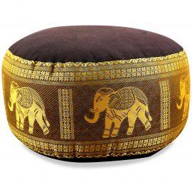 kleines Zafukissen, Yogakissen, Seide, braun-gold / Elefanten