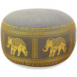 kleines Zafukissen, Yogakissen, Seide, hellgrau / Elefanten