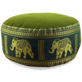 kleines Zafukissen, Yogakissen, Seide, grün / Elefanten