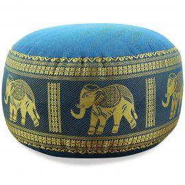 kleines Zafukissen, Yogakissen, Seide, hellblau / Elefanten
