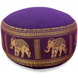 kleines Zafukissen, Yogakissen, Seide, lila / Elefanten
