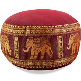 kleines Zafukissen, Yogakissen, Seide, rot / Elefanten