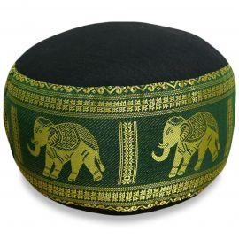 kleines Zafukissen, Yogakissen, Seide, schwarz-grün / Elefanten