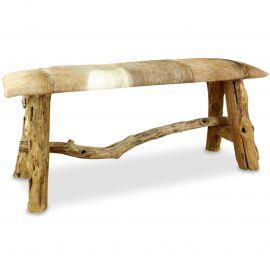 Ziegenfell Sitzbank (Teakholz), braun-weiß, aus Java