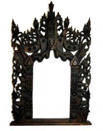 Königlicher mit Schnitzereien verzierter Wandspiegel aus Thailand