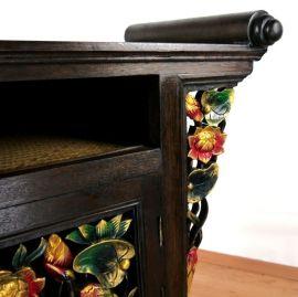 Bemalter, massiver TV Schrank aus Asien mit Rattanverarbeitung, Nr.25