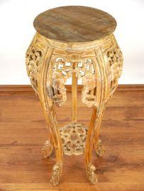 Hoher, runder Tisch aus Teakholz mit Schnitzerei, aus Java, Nr.16