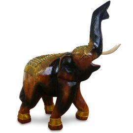 Holzelefanten mit goldfarbener Verzierung Gückselefanten, Rüssel oben, groß