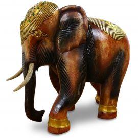 Holzelefanten mit goldfarbener Verzierung Gückselefanten, groß