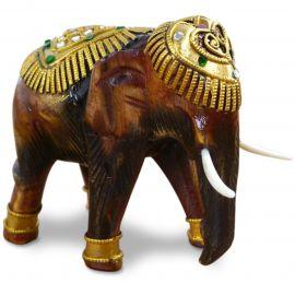 Holzelefanten mit goldfarbener Verzierung Gückselefanten, klein