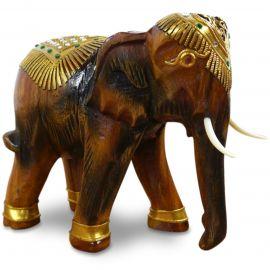 Holzelefanten mit goldfarbener Verzierung Gückselefanten, mittel