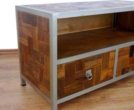 Java, Metall trifft Teak, kleines Sideboard mit 2 Schubladen,  Nr.377