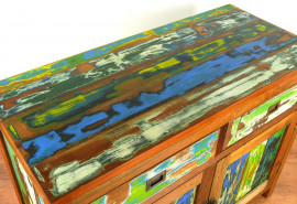 Java Teakholz-Kommode aus recyceltem, bunten Bootsholz,  Nr.314
