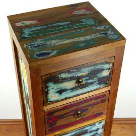 Java Teakholz-Kommode aus recyceltem, bunten Bootsholz,  Nr.336