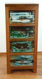 Java Teakholz-Kommode aus recyceltem, bunten Bootsholz,  Nr.337