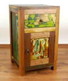 Java Teakholz-Nachtschrank aus recyceltem, bunten Bootsholz,  Nr.318