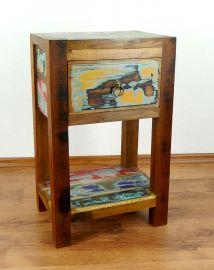 Java Teakholz-Nachtschrank, hoch, aus recyceltem, bunten Bootsholz,  Nr.335