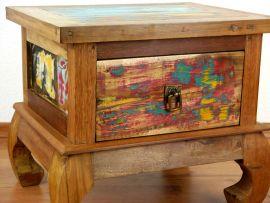 Java Teakholz Nachttisch/Opiumtisch aus recyceltem, bunten Bootsholz,  Nr.342