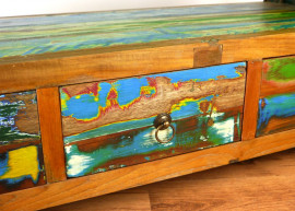 Java Teakholz-Sideboard aus recyceltem, bunten Bootsholz,  Nr.315
