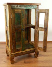 Java Teakholz-Vitrine aus recyceltem, bunten Bootsholz,  Nr.319