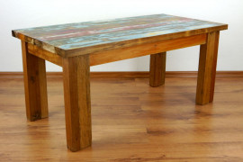 Java, Tisch aus buntem, recyceltem Teakholz/Bootsholz, Nr.67