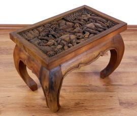 Kleiner Opiumtisch mit Elefantenschnitzerei in braun