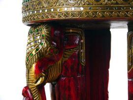 Massivholz Elefantenhocker  mit Glasmosaikverzierung