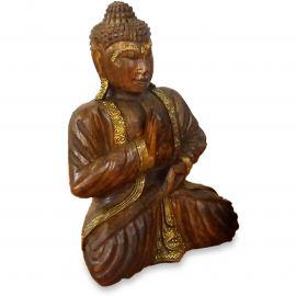Bali, Buddha mit Gold-Verzierung, Vitarka Mudra, mittel