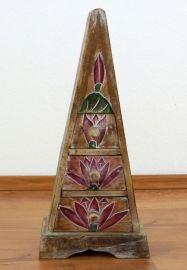 Kleine Schubladenkommode Pyramide aus Bali (Indonesien), natur
