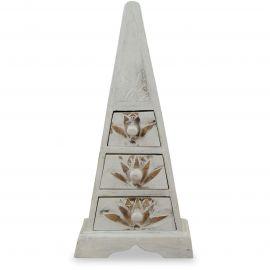 Kleine Schubladenkommode Pyramide aus Bali (Indonesien), weiß