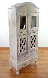 Balinesischer 4 türiger Schrank mit 1 Schublade, whitewash, Nr.225