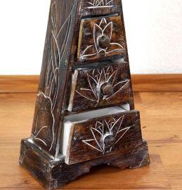 Kleine Schubladenkommode Pyramide aus Bali (Indonesien), dunkelbraun
