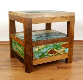 Java Teakholz-Nachttisch aus recyceltem, bunten Bootsholz,  Nr.316