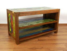 Java Teakholz-Sideboard offen, aus recyceltem, bunten Bootsholz,  Nr.321