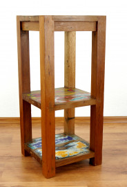 Java kleines Regal aus recyceltem, bunten Teak- / Bootsholz,  Nr.343