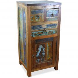 Java Teakholz-Kommode, Nachtschrank, aus recyceltem, bunten Bootsholz,  Nr.371