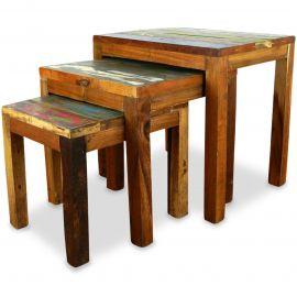 Java, Tische aus buntem recycelten Teakholz/Bootsholz, 3er Set, Nr.46
