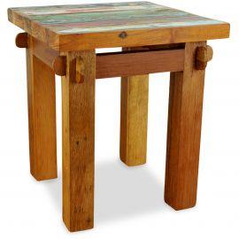 Java, Tisch / Nachttisch aus buntem recycelten Teakholz/Bootsholz, Nr.63