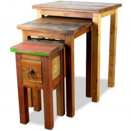 Java, Tische aus buntem recycelten Teakholz/Bootsholz, 3er Set, Nr.76