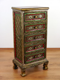 Asiatische Kommode im Glasmosaik Look, mit 5 Schubladen Nr.95