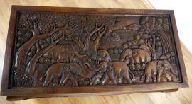 Opiumtisch 100x50cm mit Elefantenschnitzerei in mahagonibraun