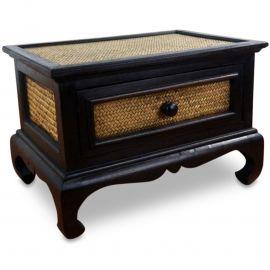Opiumtisch aus Holz und Rattan