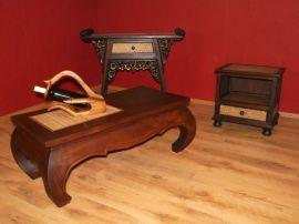 Opiumtisch, länglich, 100cm x 50cm, mahagoniebraun