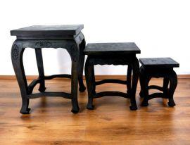 Opiumtisch-Set, 3 asiatische Tische *schwarze Eleganz*